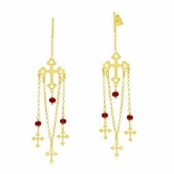Boucles d'oreilles argent doré, cristaux de synthèse