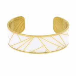 Bracelet jonc en acier doré et motif imprimé