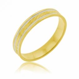 Alliance en or jaune et rhodié, fantaisie  4mm