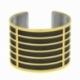 Bracelet jonc en acier doré, intérieur acier et laque pailletée noire - A