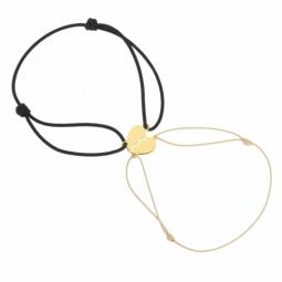 Bracelets cordons en or jaune, coeur sécable