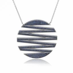 Collier en argent rhodié et rhodié noir, oxydes de zirconium bleus