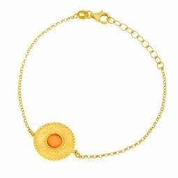 Bracelet en argent doré et pierre synthétique orange