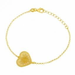 Bracelet en argent doré, coeur