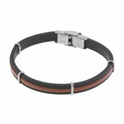 Bracelet en acier, cuir noir et marron