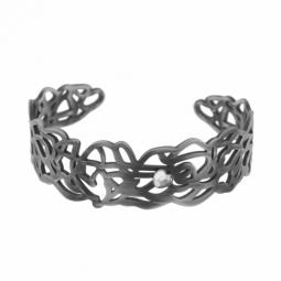 Bracelet jonc en acier vieilli et cristal de synthèse