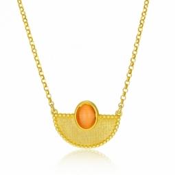 Collier en argent doré et pierre synthétique orange