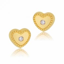 Boucles d'oreilles en or jaune coeur, oxyde de zirconium
