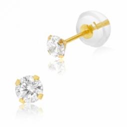 Boucles d'oreilles en or jaune, oxyde de zirconium 3 mm, poussette silicone
