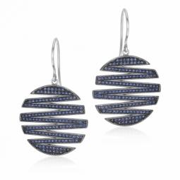 Boucles d'oreilles argent rhodié et rhodié noir, oxydes de zirconium bleus