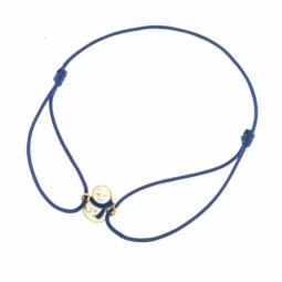 Bracelet cordon bleu en or jaune et laque, bonhomme de neige