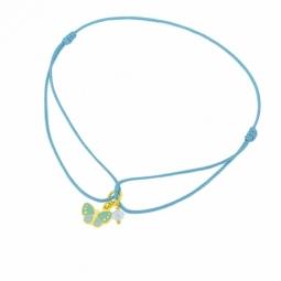 Bracelet cordon en or jaune et laque, cristal de synthèse