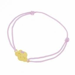 Bracelet cordon rose en or jaune et laque, nuage