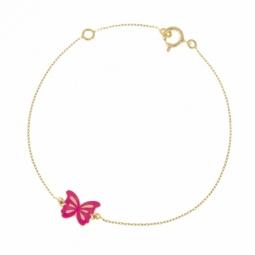 Bracelet en or jaune et laque rose, papillon
