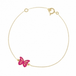 Bracelet en or jaune et laque rose, papillon