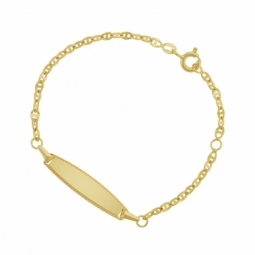 Bracelet identité en or jaune, plaque ovale striée