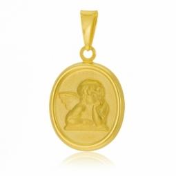 Médaille en or jaune ange, mate et lisse