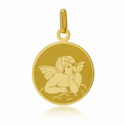 Médaille en or jaune ange, mat et brillant