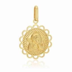 Médaille en or jaune, ange, bords découpés