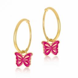Boucles d'oreilles en or jaune et laque rose, papillon