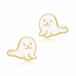 Boucles d'oreilles en or jaune et laque, phoque
