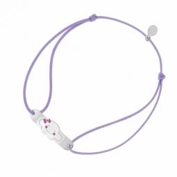 Bracelet cordon en argent rhodié et laque rose, nuage