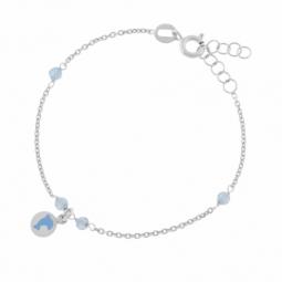 Bracelet en argent rhodié, cristaux de synthèse et laque dauphin
