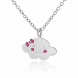 Collier en argent rhodié et laque rose, nuage