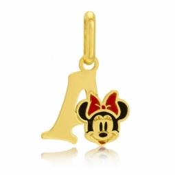Pendentif en or jaune et laque, lettre A, Minnie Disney