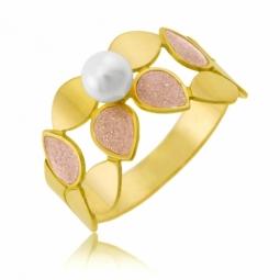 Bague en or jaune, laque et perle de culture