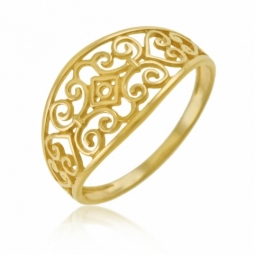 Bague en or jaune, filigrane