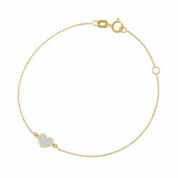 Bracelet en or jaune et laque pailletée, coeur