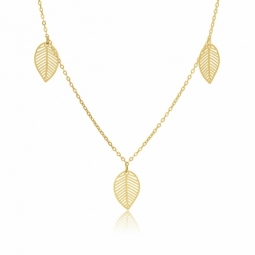 Collier en or jaune, feuilles