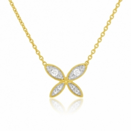 Collier en or jaune et rhodié, diamants