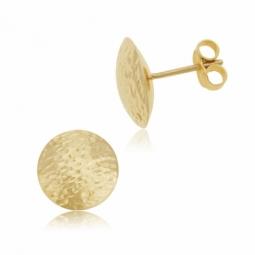 Boucles d'oreilles en or jaune, demi boule martelée
