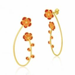 Boucles d'oreilles en or jaune et laque