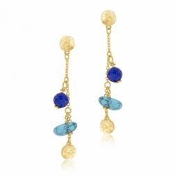 Boucles d'oreilles or jaune, lapis-lazuli et turquoise reconstituée
