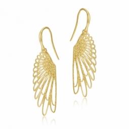 Boucles d'oreilles crochet en or jaune, aile