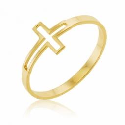 Bague en or jaune, croix