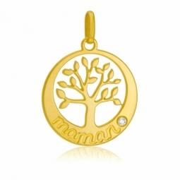 Pendentif en or jaune et diamant, maman, arbre de vie
