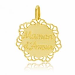 Pendentif en or jaune, maman d'amour