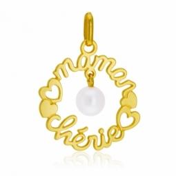 Pendentif en or jaune et perle de culture, maman chérie