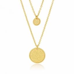 Collier en acier doré, medailles