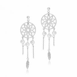 Boucles d'oreilles en argent rhodié et perles de culture, attrape rêve