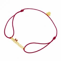 Bracelet cordon rouge en or jaune et laque, maman, Minnie Disney