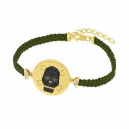 Bracelet en argent doré et oxydes de zirconium, tête de mort