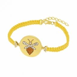Bracelet en argent doré et oxydes de zirconium, abeille
