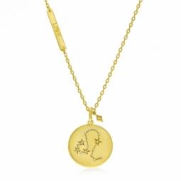 Collier en plaqué or et oxydes de zirconium, lion