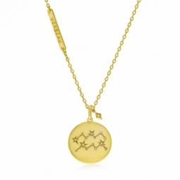 Collier en plaqué or et oxydes de zirconium, verseau