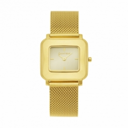 Montre femme, boîte acier doré, bracelet acier doré et verre minéral